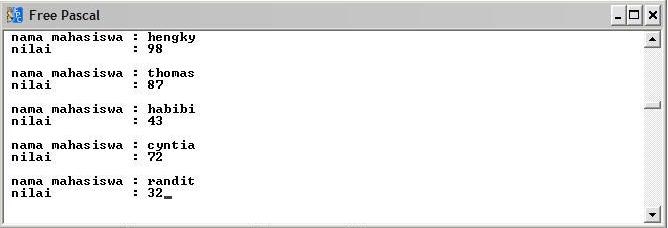 tampilan program saat input data
