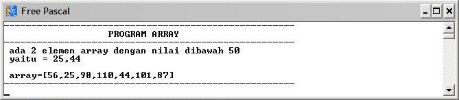 tampilan jika input = 3: menampilkan nilai dibawah 50